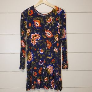 folklore floral long sleeve swing dress small